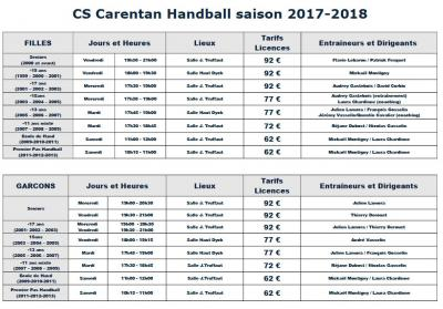 Cs carentan handball saison 2017 2018